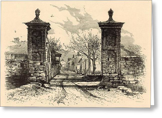 Horse And Buggy Drawings Greeting Cards - The City Gate - St. Augustine 1872 Engraving by Harry Fenn Greeting Card by Antique Engravings