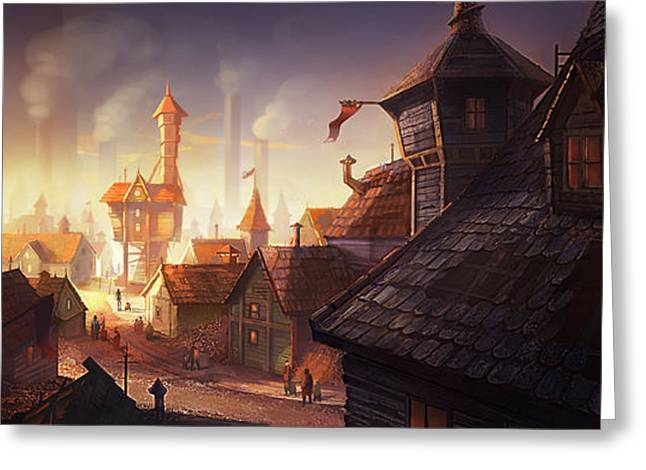 Fairytale Greeting Cards - The City Greeting Card by Kristina Vardazaryan