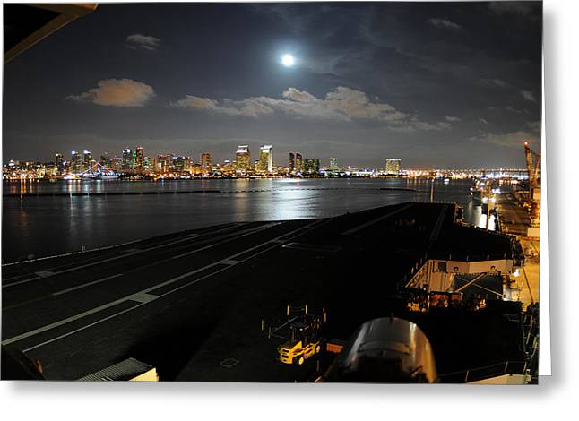 Naval Aircraft Greeting Cards - The City Lights Greeting Card by Mountain Dreams