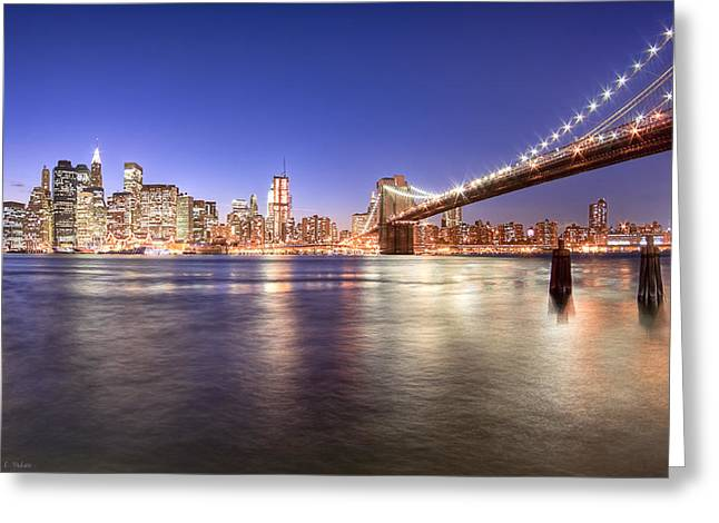 Mark Tisdale Greeting Cards - The City Lights of Manhattan - Brooklyn Bridge Greeting Card by Mark Tisdale
