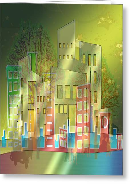 Steer Greeting Cards - The City Greeting Card by Mountain Dreams