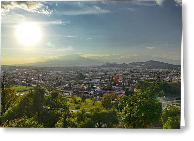 Mexico City Pyrography Greeting Cards - The City Of Cholula Greeting Card by Sergio Diaz