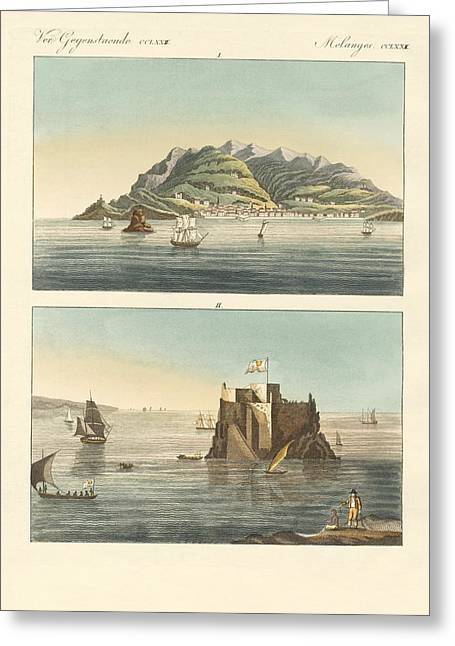 Inseln Greeting Cards - The city of Funchal and Fort Loo of the island of Madeira Greeting Card by Splendid Art Prints