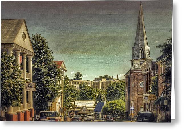Store Fronts Greeting Cards - The City Of Lexington Virginia Greeting Card by Kathy Jennings