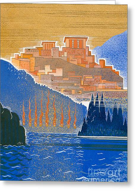 Ocean Landscape Drawings Greeting Cards - The City of Troy from the Sea Greeting Card by Francois-Louis Schmied