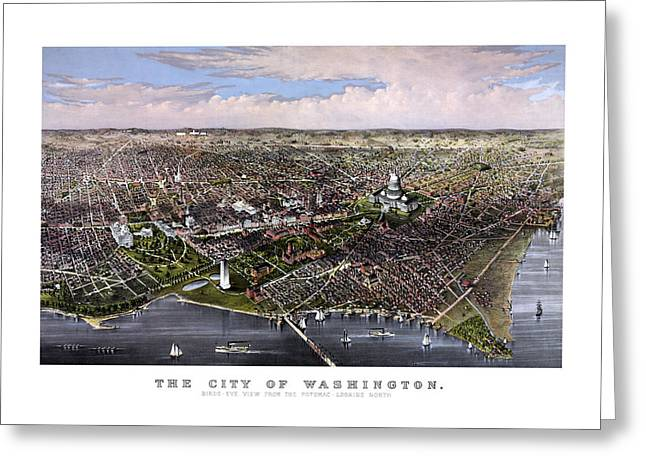 Historic Architecture Mixed Media Greeting Cards - The City Of Washington Birds Eye View Greeting Card by War Is Hell Store