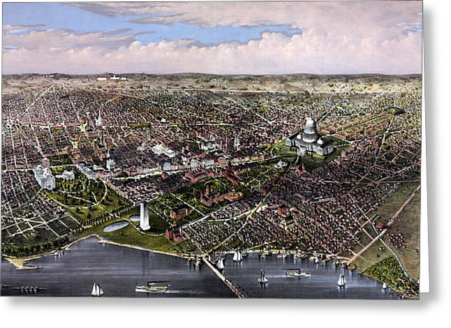 Us Capital Mixed Media Greeting Cards - The City Of Washington Birds Eye View Greeting Card by War Is Hell Store