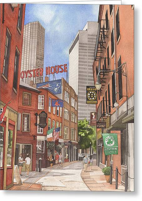 Boston Red Sox Paintings Greeting Cards - The City on a Hill Greeting Card by Josh Marks