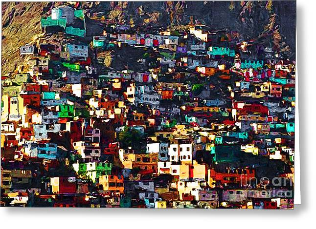 The Hills Digital Art Greeting Cards - The City on The HIll v1 Greeting Card by Wingsdomain Art and Photography