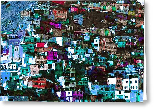 The Hills Digital Art Greeting Cards - The City on The HIll v1p168 square Greeting Card by Wingsdomain Art and Photography