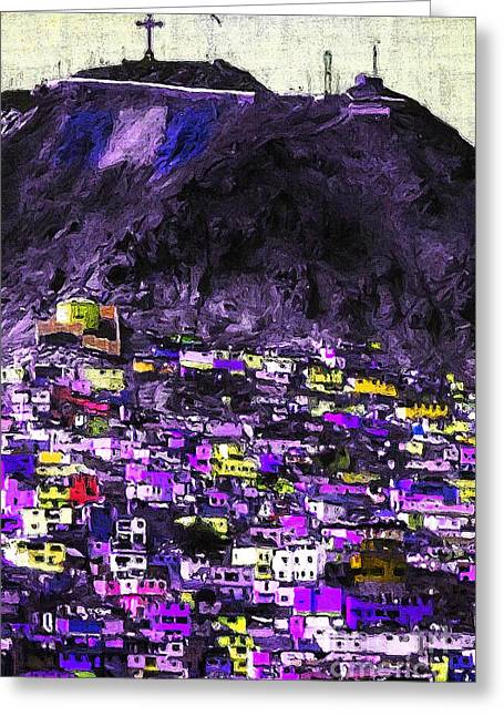The Hills Digital Art Greeting Cards - The City on The HIll v2p128 Greeting Card by Wingsdomain Art and Photography