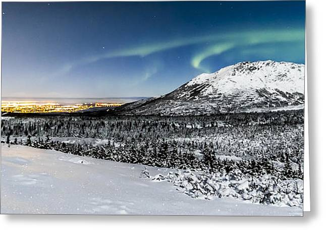 Northernlights Greeting Cards - The city sleeps as the lights dance Greeting Card by Kyle Lavey