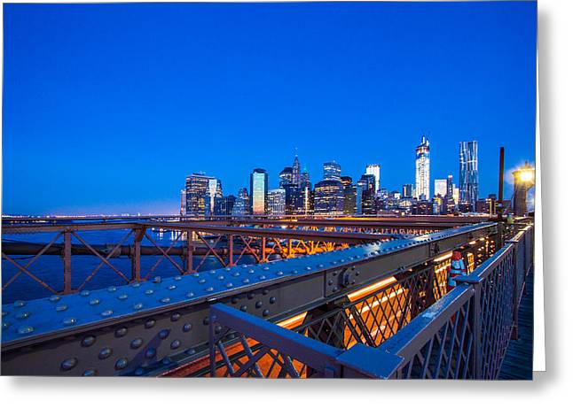 Lower Manhattan Greeting Cards - The City That Never Sleeps Greeting Card by Daniel Chen