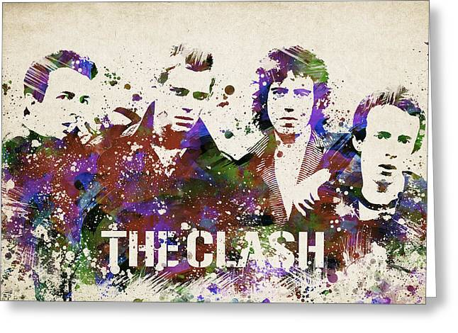 Splutter Greeting Cards - The Clash Portrait Greeting Card by Aged Pixel