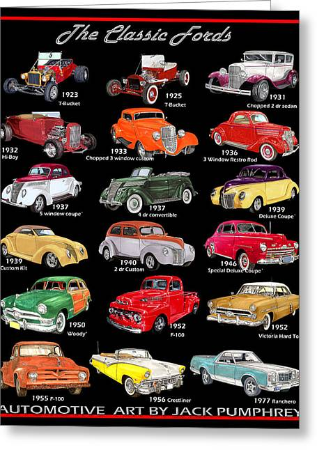 Note Cards Drawings Greeting Cards - Vintage Ford Poster Greeting Card by Jack Pumphrey