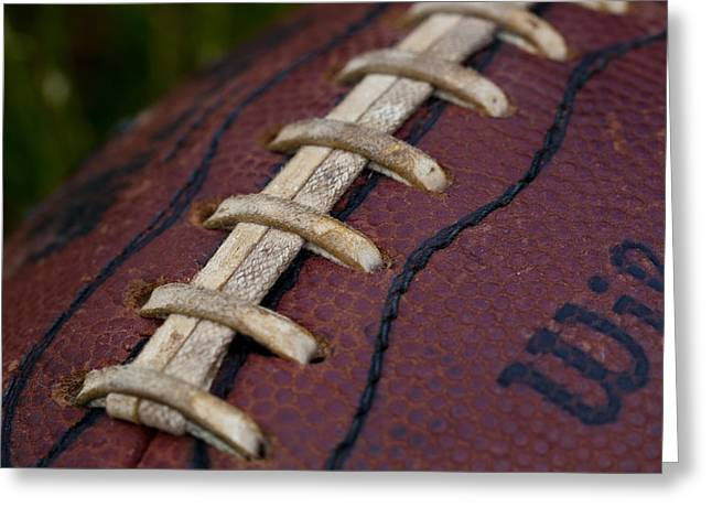 Football Closeup Greeting Cards - The Classic Leather Football Greeting Card by David Patterson