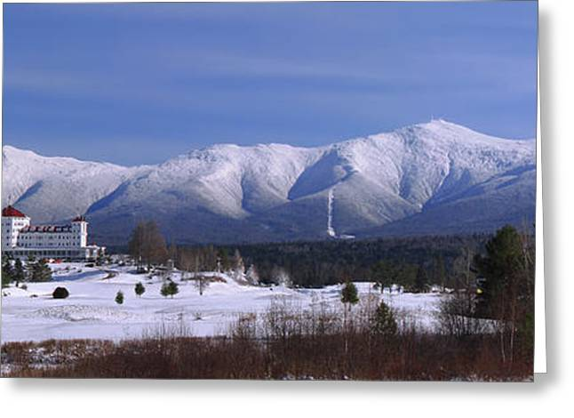 Recently Sold -  - Snow Scene Landscape Greeting Cards - The Classic Mount Washington Hotel Shot Greeting Card by Christopher Whiton