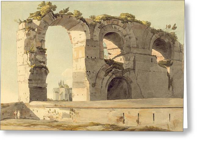 Ancient Rome Greeting Cards - The Claudian Aqueduct, Rome, 1785 Wc, Pen, Ink And Graphite On Paper Greeting Card by Francis Towne
