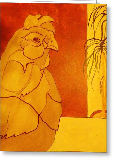 Representative Abstract Mixed Media Greeting Cards - The Clay Chicken Greeting Card by David Raderstorf