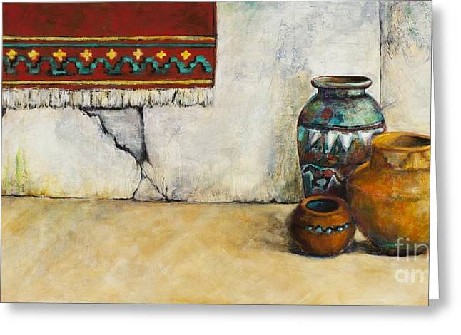 Native American Rug Greeting Cards - The Clay Pots Greeting Card by Frances Marino