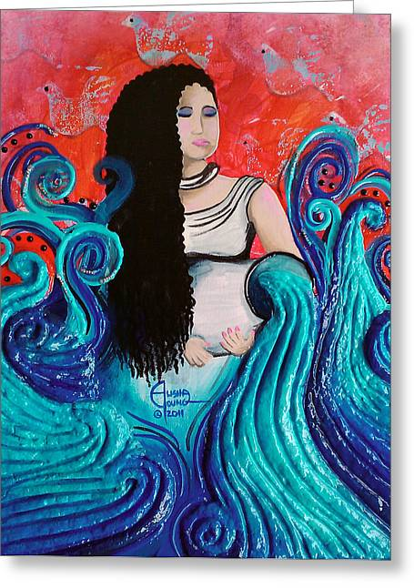 Water Jug Mixed Media Greeting Cards - The Cleansing Greeting Card by Ohso Faboolus