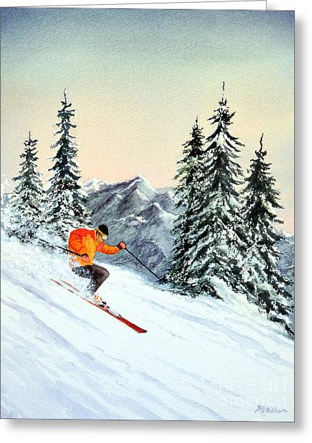 Ski Jumping Greeting Cards - The Clear Leader Greeting Card by Bill Holkham