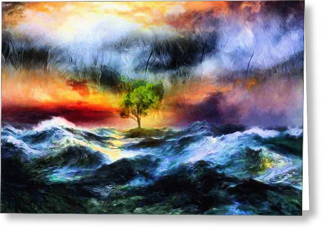 Oceanic Landscape Greeting Cards - The Clearing Of The Flood Greeting Card by Georgiana Romanovna