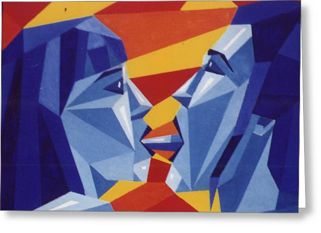 Inner Reality Paintings Greeting Cards - The Cliche Kiss Greeting Card by Jon D Gemma