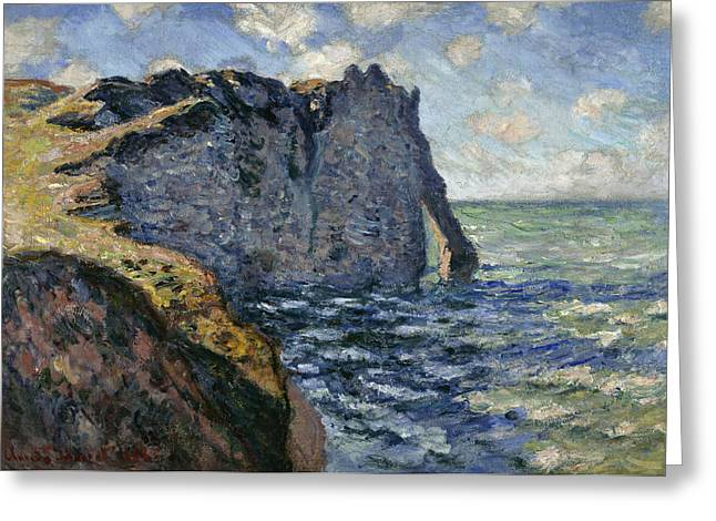 Cliff Paintings Greeting Cards - The Cliff Of Aval, Etretat, 1885 Greeting Card by Claude Monet