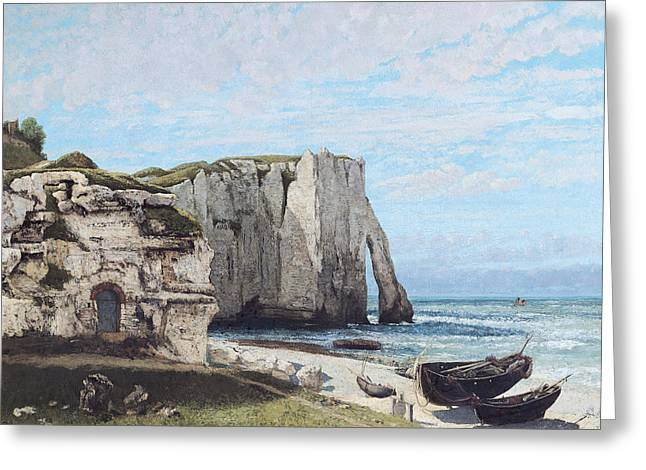 Beach Landscape Greeting Cards - The Cliffs At Etretat After The Storm, 1870 Oil On Canvas Greeting Card by Gustave Courbet