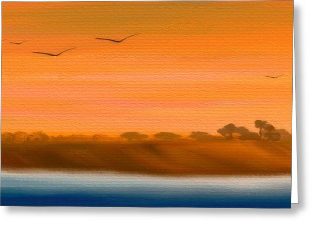 The Cliffs At Sunset - Digital Artwork Greeting Card by Gina Lee Manley