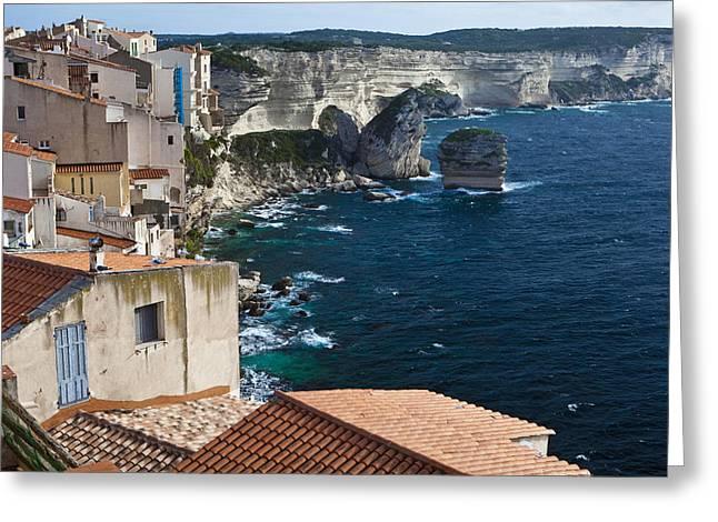 Vertigo Greeting Cards - The cliffs of Bonifacio South Corsica Greeting Card by Roland Bouvier