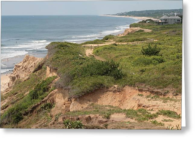 Long Island Photographs Greeting Cards - The Cliffs of Montauk Looking West Greeting Card by Christopher Kirby