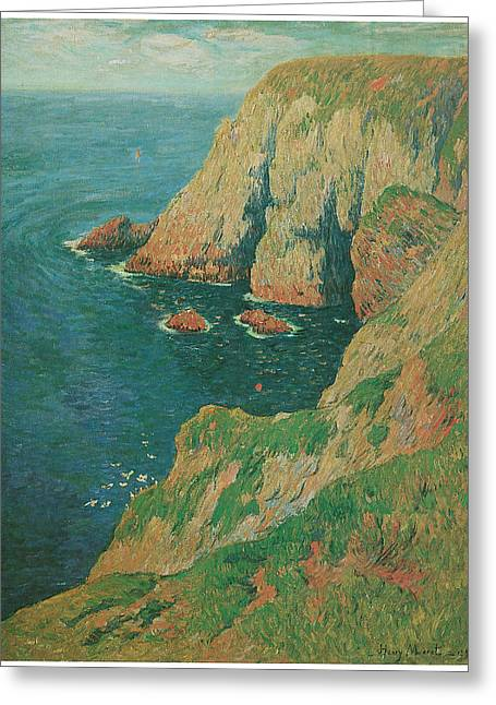 Best Sellers -  - Cliffs Over Ocean Greeting Cards - The Cliffs of Stang Ile de Croix Greeting Card by Henry Moret