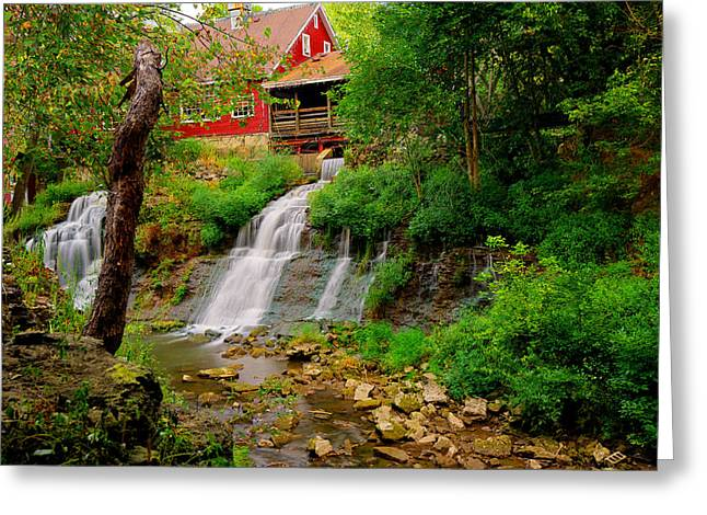 Grist Mill Greeting Cards - The Clifton Mill and Waterfall- Clifton Ohio Greeting Card by Gregory Ballos