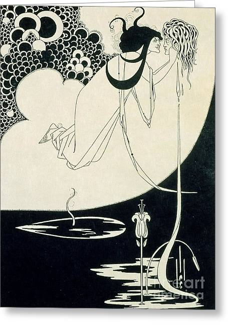 Literary Drawings Greeting Cards - The Climax Greeting Card by Aubrey Beardsley