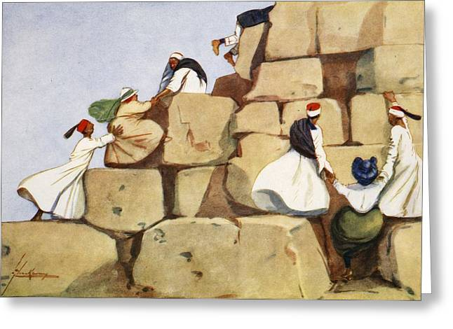Pyramids Greeting Cards - The Climbers, From The Light Side Greeting Card by Lance Thackeray