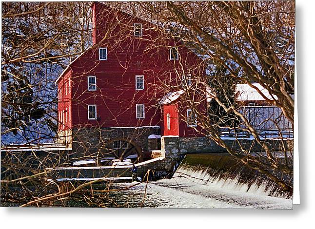 Red Barn In Winter Greeting Cards - The Clinton Nj Mill Greeting Card by Skip Willits