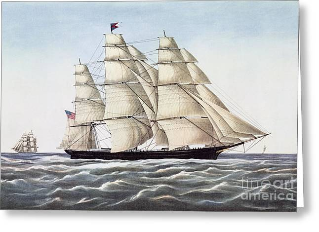 Seascape Drawings Greeting Cards - The Clipper Ship Flying Cloud Greeting Card by Anonymous