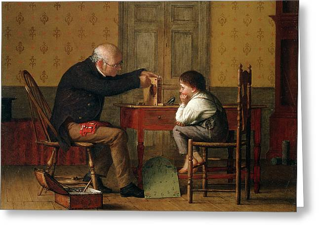 Little Boy Greeting Cards - The Clock Doctor, 1871 Greeting Card by Enoch Wood Perry