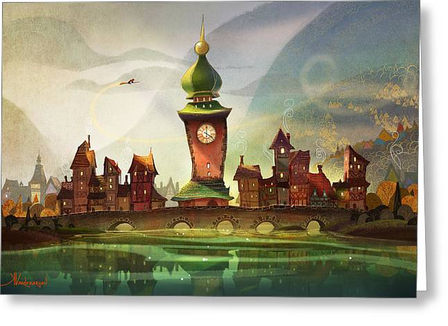Witch Greeting Cards - The Clock Tower Greeting Card by Kristina Vardazaryan
