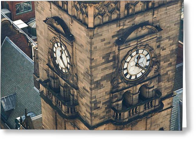 The Clock Tower Of The Sheffield Town Hall. Greeting Card by Rob Huntley