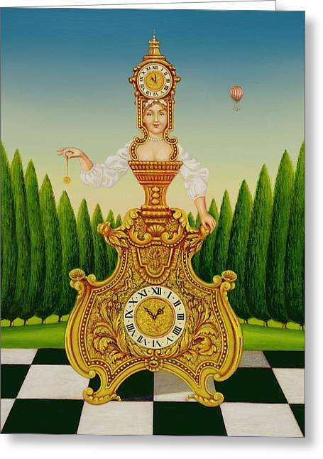 Pendulum Greeting Cards - The Clockmakers Wife, 1999 Oil & Tempera On Panel Greeting Card by Frances Broomfield