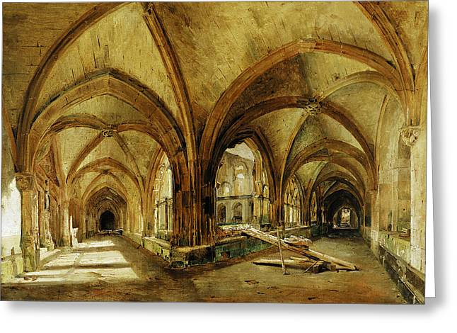 Cloister Greeting Cards - The Cloisters Of St. Wandrille, C.1825-30 Oil On Canvas Greeting Card by Louis Eugene Gabriel Isabey