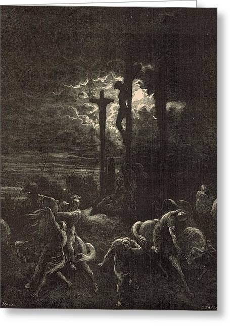 Adonai Greeting Cards - The Close of the Crucifixion Greeting Card by Antique Engravings