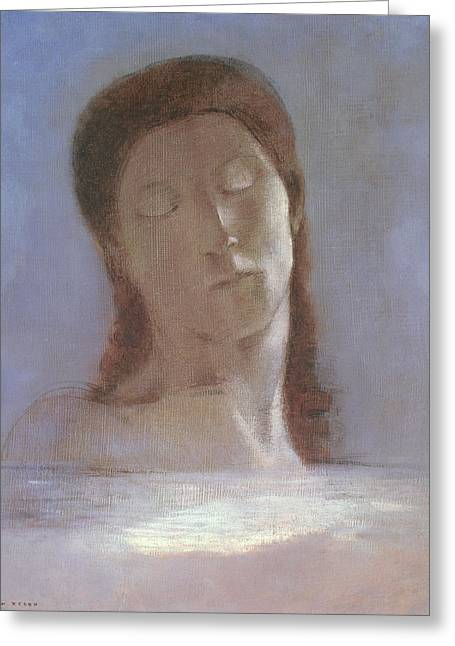 The Closed Eyes, 1890 Greeting Card by Odilon Redon