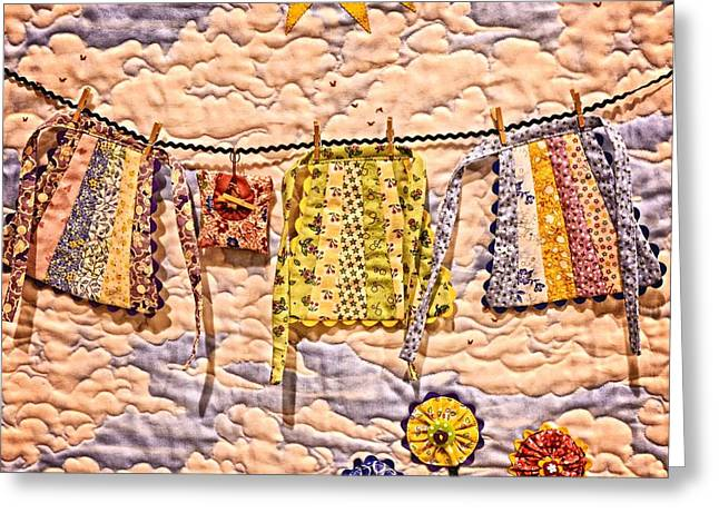 Quilt Blocks Greeting Cards - The Clothes Line Greeting Card by Image Takers Photography LLC - Carol Haddon