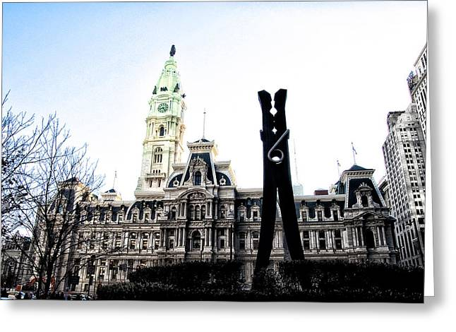 Clothes Pins Greeting Cards - The Clothespin Statue and Philadelphia City Hall Greeting Card by Bill Cannon