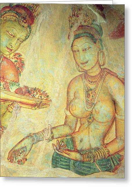 Femme Greeting Cards - The Cloud Damsels, From The Rock Fortress Fresco Detail Greeting Card by Sri Lankan School