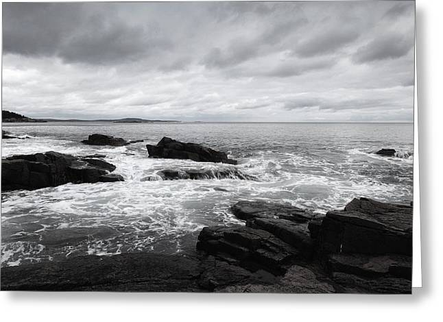 The Cloudy Day In Acadia National Park Maine Greeting Card by Paul Ge